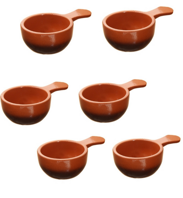 Vyatka ceramics / Set of 6 cocottes, with a capacity of 0.1 l. (tradition)