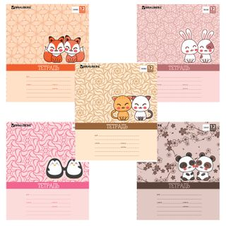 Notebook of 12 sheets BRAUBERG, line, cardboard cover, DOUBLE