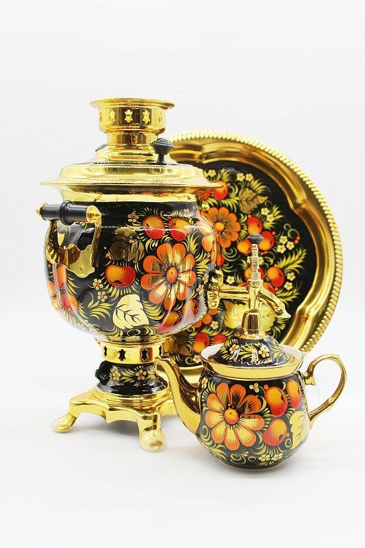 "Dulevo porcelain / Electric samovar 3 l. ""Apple pattern"" in the set"