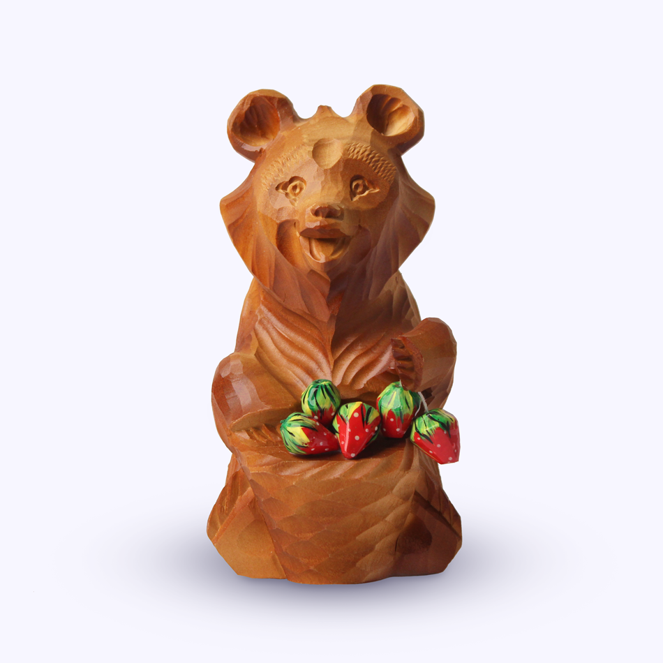"Bogorodsk toy / Wooden souvenir ""First berry"""