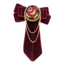 Brooch 'Rosalia' Burgundy with gold embroidery