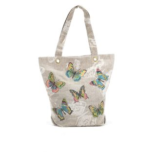"Linen bag ""Butterfly"" gray with silk embroidery"