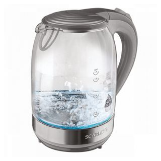 KETTLE SCARLETT SC-EK27G64, 1.7 litres, 2200 w, closed heating element, glass, grey
