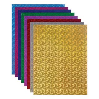 Coloured paper, A4, HOLOGRAPHIC, 8 sheets in 8 colors, 80 g/m2, FLOWERS TREASURE ISLAND