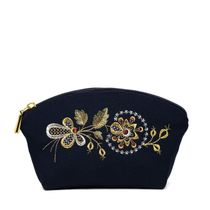 Cosmetic bag 'Dawn' with a zipper with a gold pattern of flowers
