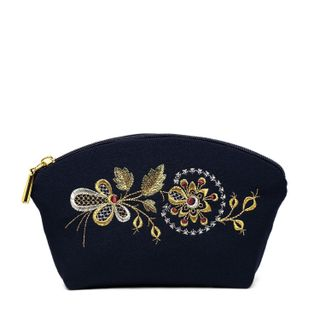 """Cosmetic bag """"Dawn"""" with a zipper with a gold pattern of flowers"""
