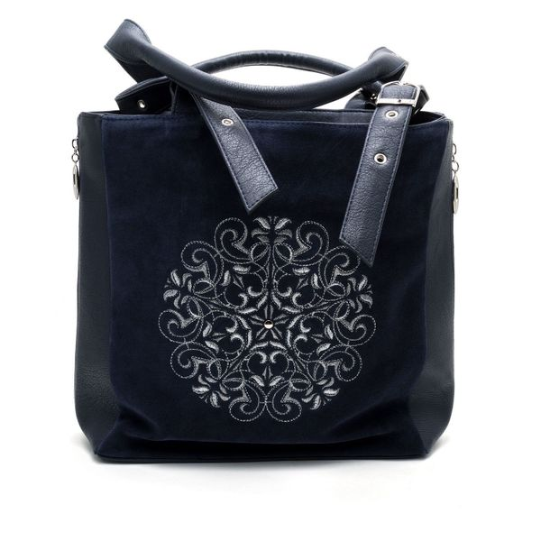 Bag made of eco-leather 'Vilora' blue with silver embroidery