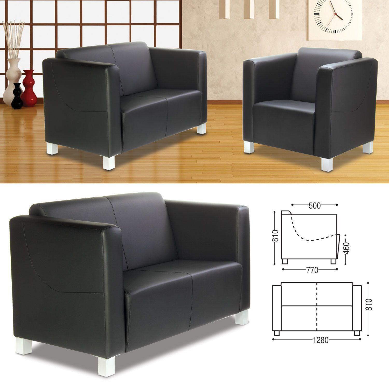 "RAMART / Soft double sofa ""Milano"", 810х1280х770 mm, with armrests, eco-leather, black"