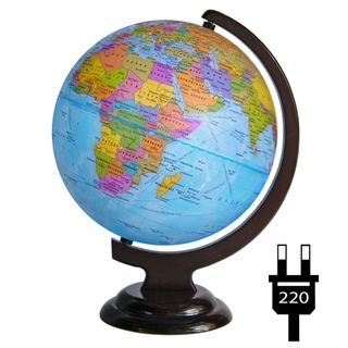Political globe with a diameter of 250 mm on a wooden stand with backlight