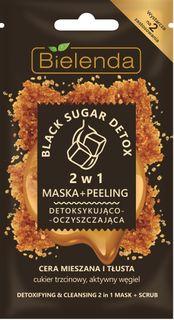 Detoxifying and purifying mask+scrub (2 in 1), for mixed and oily skin BLACK SUGAR DETOX, BIELENDA, 8 g