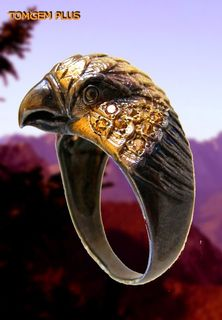 Eagle 0191 - 925 silver ring with black rhodium plating and gilding
