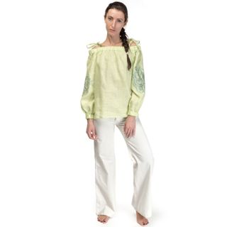"""Torzhok gold embroiderers / Women's blouse """"Diona"""" green with short sleeves"""