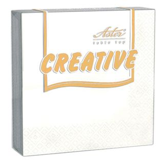 "ASTER / Napkins, 20 pcs., 24x24 cm, 3-ply, ""Creative"", white, 100% cellulose"