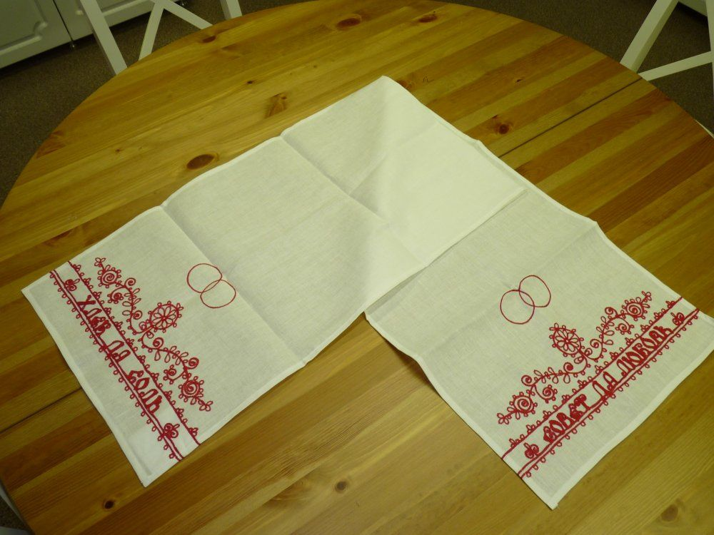 "A towel of white linen ""Wedding"" Karelian patterns"