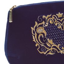 Velvet cosmetic bag Victoria blue with gold embroidery