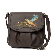 Bag made of eco-leather 'Hummingbird' brown with gold embroidery