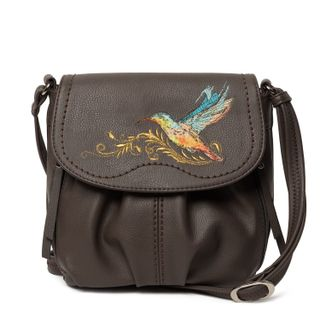 "Bag made of eco-leather ""Hummingbird"" brown with gold embroidery"