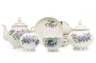 Dulevo porcelain / Tea set 15 pcs. Blue Rose Lilac