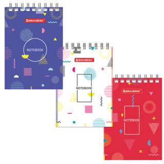 Small FORMAT Notebook (75 x105 mm) A7, 40 sheets, comb, cardboard, cage, BRAUBERG,