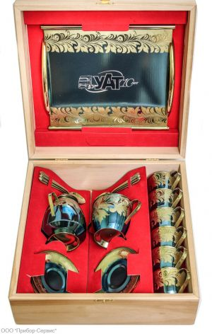 Zirconium coffee set for 6 persons with a tray in a wooden gift box