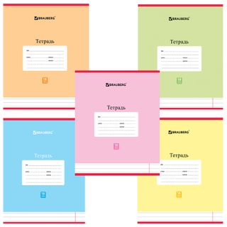 Notebook 18 L. BRAUBERG, line, cover the cardboard, PASTEL