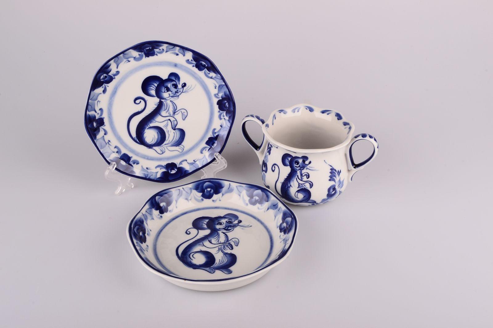 Dulevo porcelain / Children's set Mouse (3 items)
