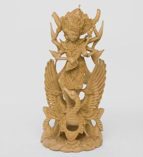 "Wooden statuette ""Saraswati - the goddess of all Sciences """