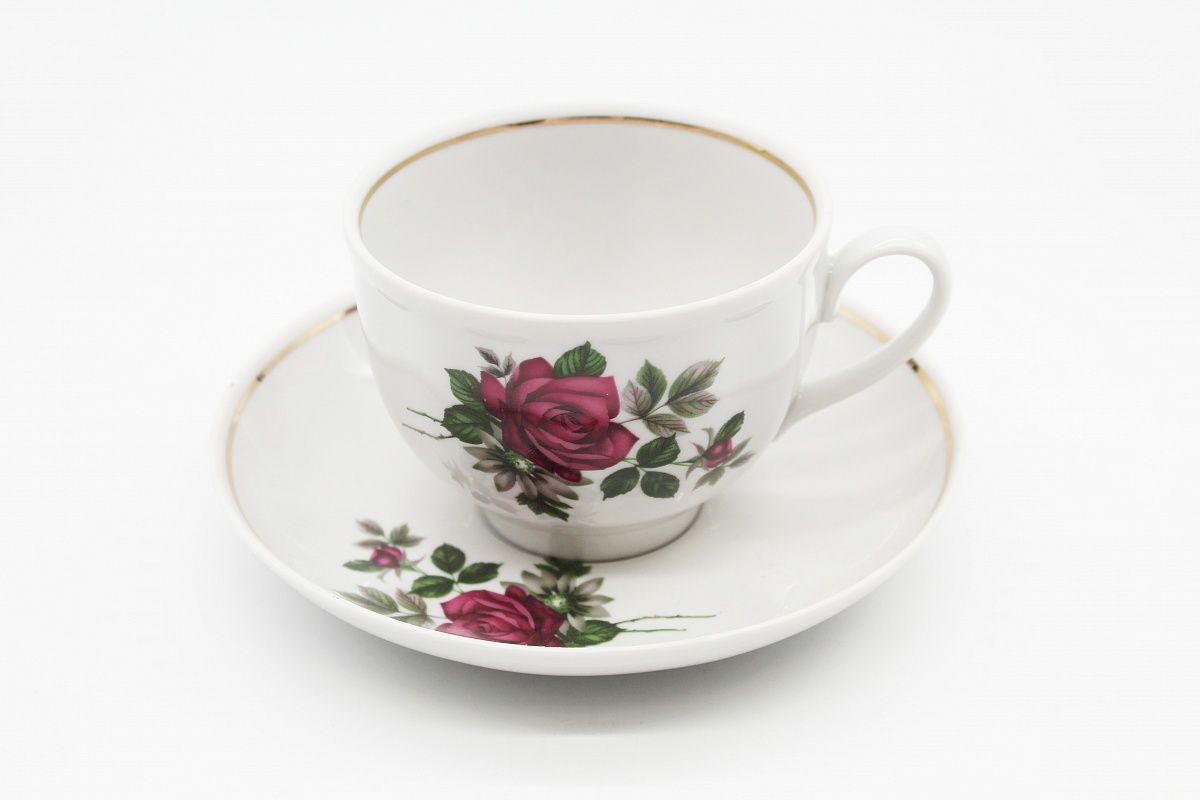 Dulevo porcelain / Tea cup and saucer set, 12 pcs., 275 ml Pomegranate Black Rose