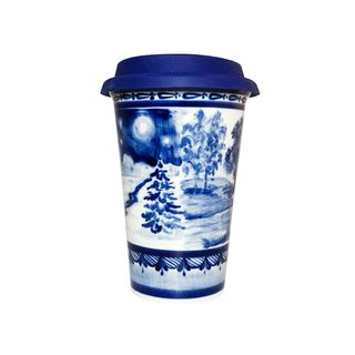 Author's coffee Cup with silicone lid No. 12 (winter-summer), Gzhel Porcelain factory