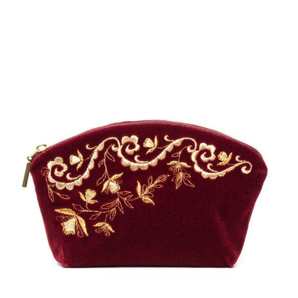 Velvet cosmetic bag 'Nefertiti' Burgundy with gold embroidery