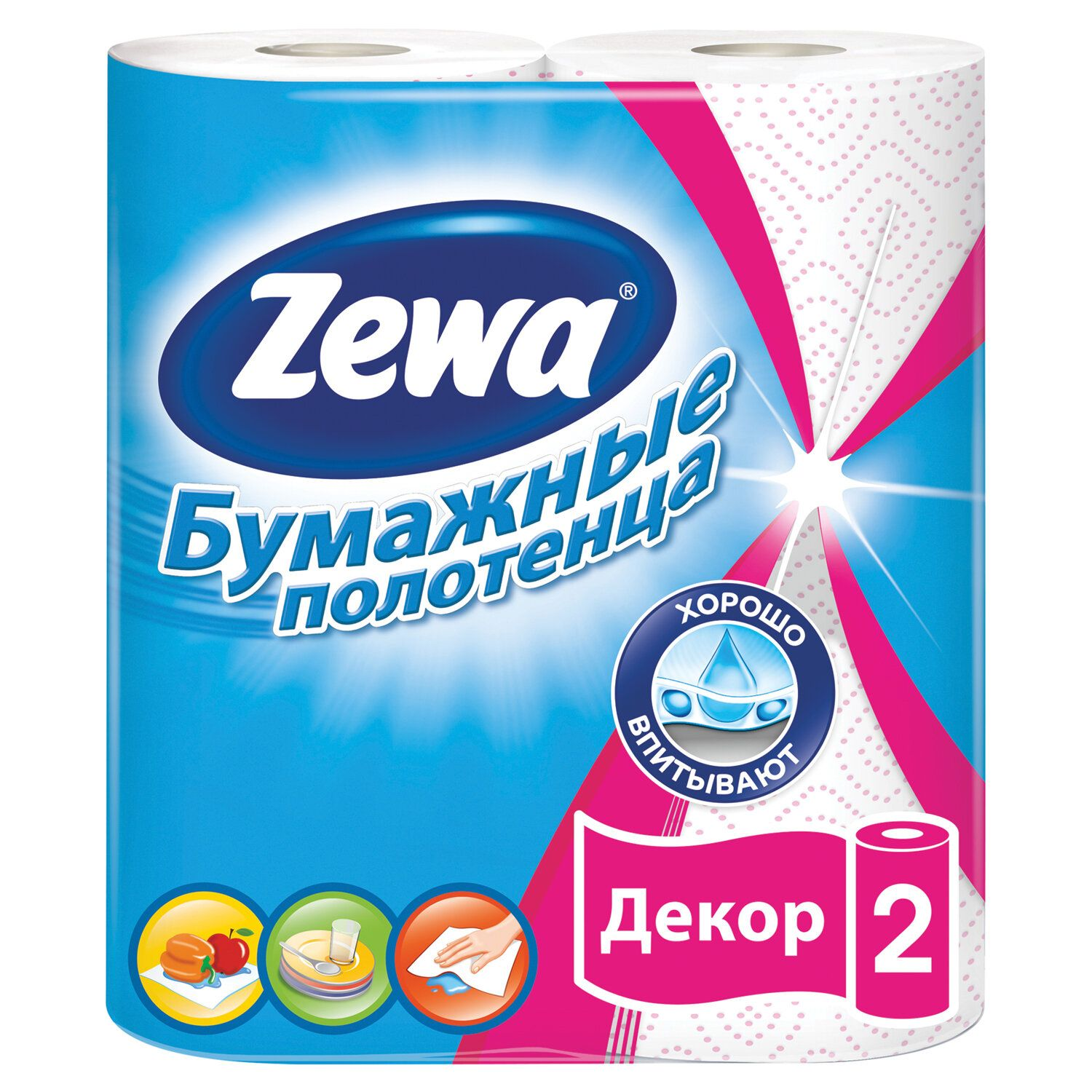 "ZEWA / Household paper towels ""Decor"" 2-layer (2x13.5 m), white, soldering 2 pcs."