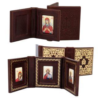Rostov enamel / Folding in leather triple