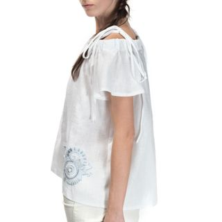 "Women's blouse ""Diona"" white with silk embroidery"