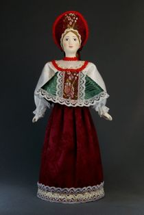 Doll gift porcelain. The North Of Russia. Maiden costume.