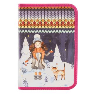 BRAUBERG pencil case, 1 compartment, 1 flap strap, laminated cardboard, 19х13 cm, Winter