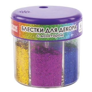 ISLAND OF TREASURES / Sequins for decoration (glitter) in a dispenser with a dispenser, 6 colors