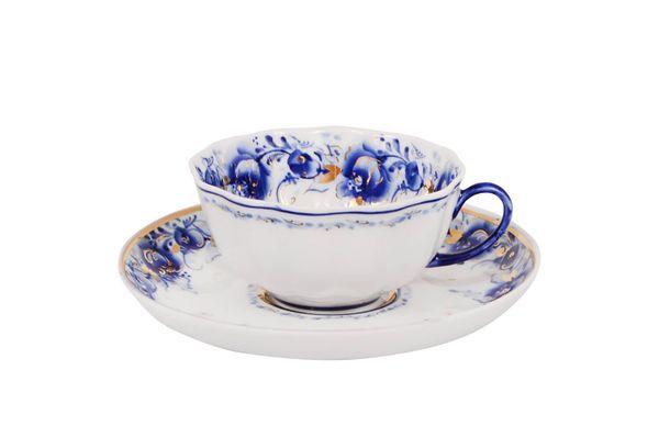 Dulevo porcelain / Set tea cup with saucer, 12 pcs., 220 ml Tulip Tenderness Gold