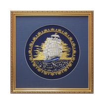 Mural 'Sailboat' blue with gold embroidery