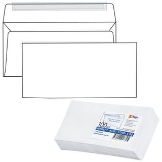 Envelopes E65 (110x220 mm), tear-off strip, white, SET of 100 pieces, the inner sealing