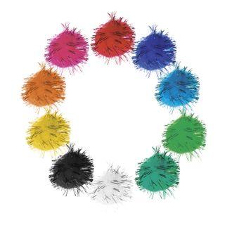 POM-poms for creativity, shiny, 10 colors, 8 mm, 60 PCs., TREASURE ISLAND