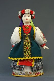 Doll gift porcelain. Ukraine. Women's traditional costume (styling). Late 19th-early 20th century.