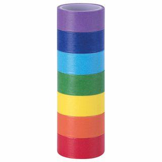WASHI adhesive tapes for decoration RAINBOW, plain, 15 mm х 3 m, 7 colors, rice paper, ISLAND OF TREASURES