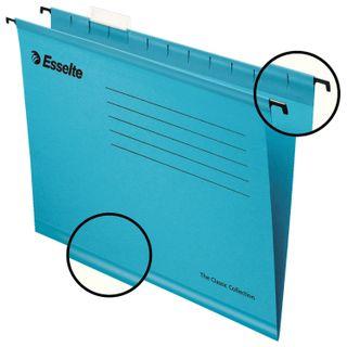 Hanging folder A4 (345х240 mm), 300 sheets, SET of 25 PCs., blue, carton, ESSELTE Classic