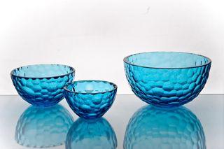 "Crystal vase for fruit ""Serenade"" large turquoise"
