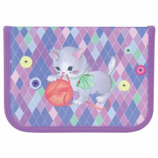 Pencil case TIGER FAMILY 1 compartment, 1 flap strap, cloth,