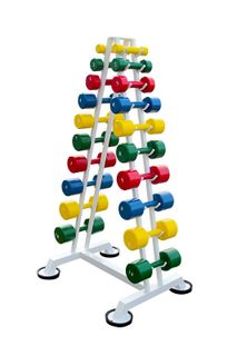 Gantry row from 1 to 10 kg in 1 kg increments (10 pairs of colored dumbbells with polymer coating) on an L-shaped rack