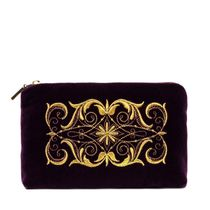 Velvet cosmetic bag 'Nadina' purple with gold embroidery