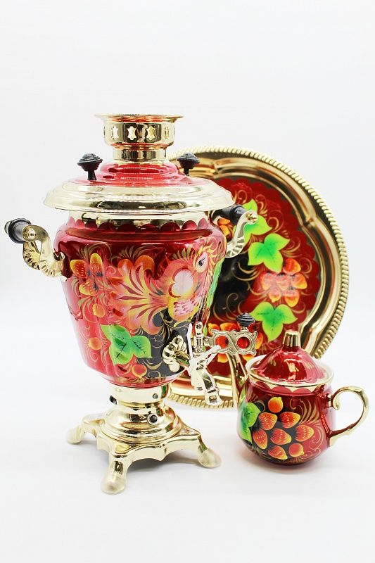 "Dulevo porcelain / Electric samovar 3 l. ""Firebird"" in a set with auto off."