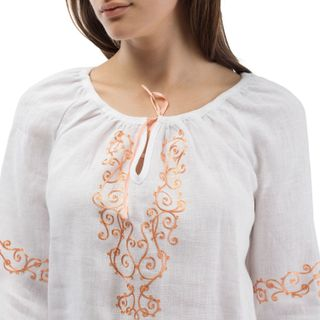 """Blouse women """"Rossiyanka"""" in white with silk embroidery"""