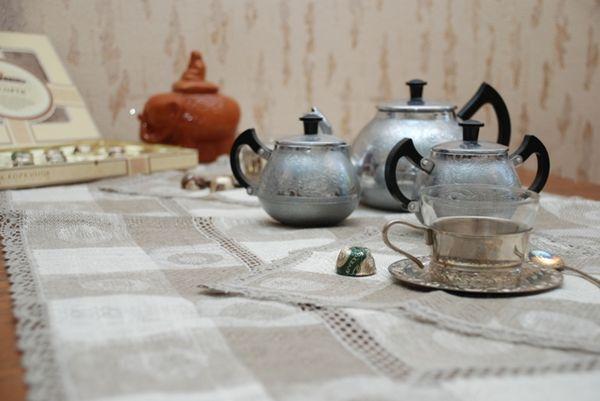 Kit 'Tea' tablecloth and 6 napkins
